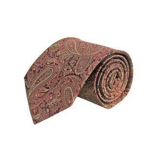 Burgundy, Khaki, Black Paisley Men's Tie 7108-0