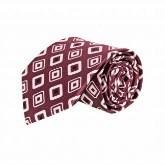 Burgundy, White, Black Square Pattern Men's Tie 10323-0