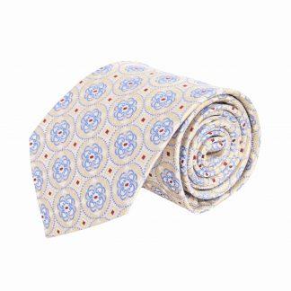 Creme, Taupe, Blue Medallion Pattern Men's Tie 10073-0