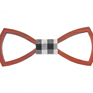 Dark Brown Wooden Banded Bow Tie 3299-0