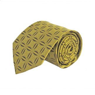Gold, Brown Star Medallion Pattern Men's Tie 7130-0