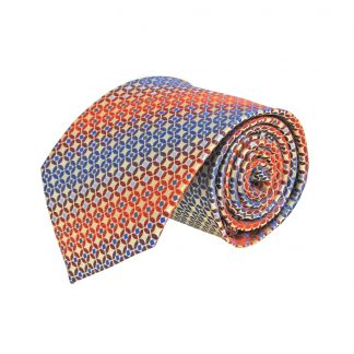 Red, Blue, Gold Circle Small Square Faded Stripe Men's Tie 10716-0