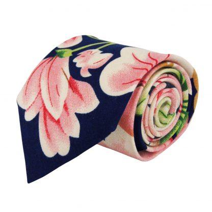 Navy, Green, Pink Floral Cotton Men's Tie 6916-0