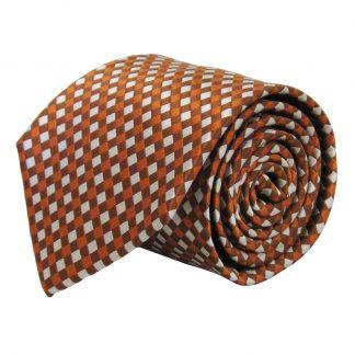 Orange, Brown, Gray Basket Weave Pattern Men's Tie 7127-0