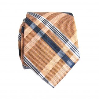 Peach, Navy Plaid Skinny Men's Tie w/Pocket Square 3391-0