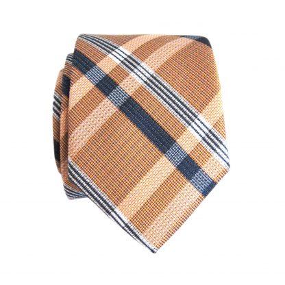 Peach, Navy Plaid Skinny Men's Tie w/Pocket Square 3391-0