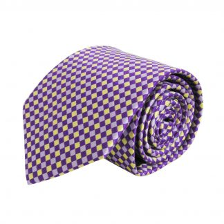 Purple, Gold Basket Weave Pattern Men's Tie 7169-0