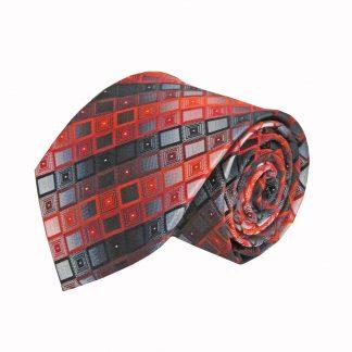 Red, Black, Gray Square Stripe Men's Tie 10584-0