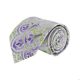 Purple, Silver, Green Floral Paisley Men's Tie 8735-0